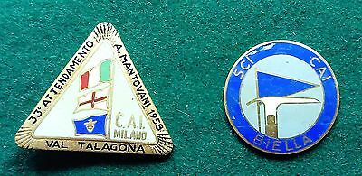 2 CAI Club Alpino Italiano ski badges