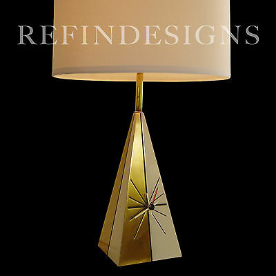 George Nelson Tony Paul Westwood Howard Miller Atomic Modern Brass Clock Lamp 55