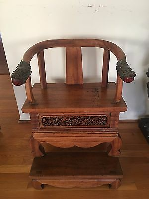 Small Chinese Throne Hand Carved Wood Dragon Chair