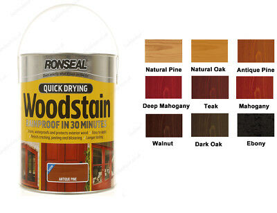 Ronseal Quick Dry exterior wood Rainproof Woodstain Satin 2.5L in various colour