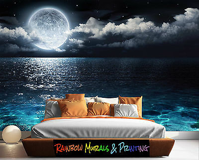 PRINTED IN AUSTRALIA Wall MURAL WALLPAPER YOUR PIC or ours REMOVABLE MOON WATER