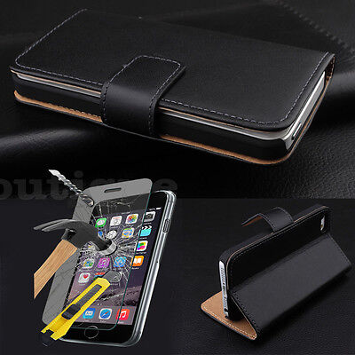 Wallet Style Cover Slim Leather Case For iPhone 5C Free Tempered Glass