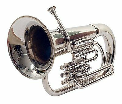 Euphonium Bb With Case And Mouthpiece Chrome Finish Great Sound Tuba