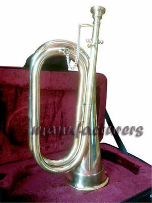 Bb TUNABLE GOLDEN FINISH PROFESSIONAL SCHOOL ARMY MILITARIA BOY SCOUT BUGLE+CASE