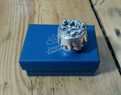 Silver Scenes sterling silver trinket/pill/ring box tea time