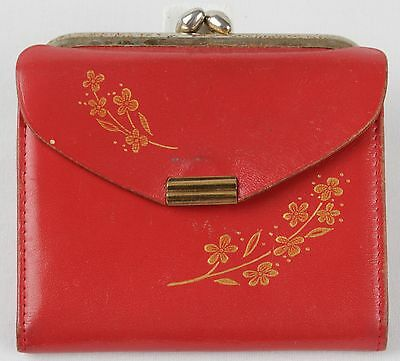 Vintage AMITY Red LEATHER Coin PURSE Credit Card Bifold Women WALLET Gold FLOWER