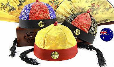 Boy Child Kid Chinese Oriental Qing Dynasty Ponytail Attached Costume Hat Cap