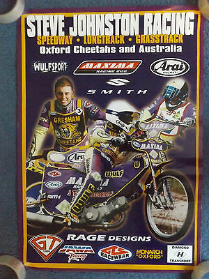 "23"" x 16"" SPEEDWAY POSTER - STEVE JOHNSTON RACING - OXFORD CHEETAHS & AUSTRALIA"