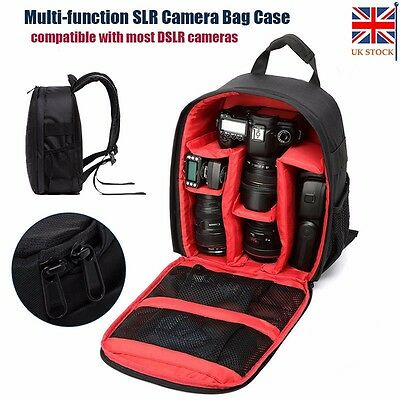 Camera Backpack Bag Waterproof Lens Case Rucksack For DSLR Canon EOS Nikon Red