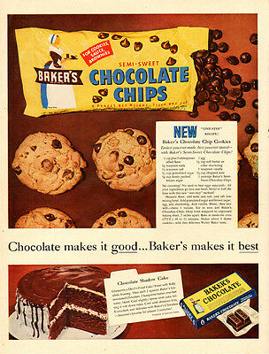 1955 vintage Ad, Baker's Chocolate Chips and Baker's Chocolate, cookies  -102913
