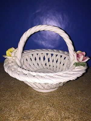 Vintage Capodimonte Woven Ceramic Floral Basket Candy Dish Italy Rose