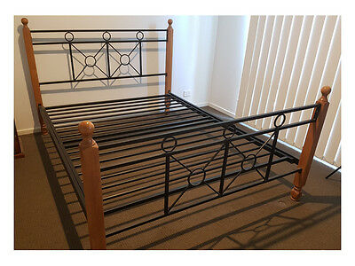 Dark Stained Timber & Black Wrought Iron Queen bed frame in excellent condition!