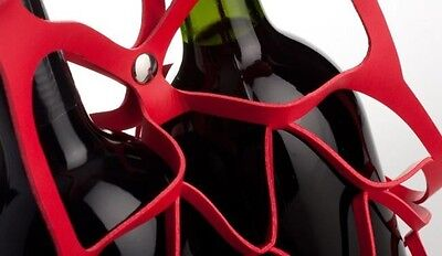 Gift Idea - Vinstrip eco-leather double-bottle wine bag - Red-  Made in Italy