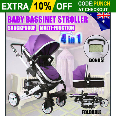 4 in 1 Baby Toddler Pram Stroller Foldable Buggy Jogger With Bassinet Pushchair