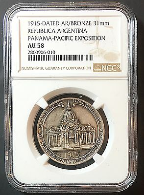 Argentina 1915 Pan- Pacific Expo San Francisco Silver Medal NGC Certified AU58