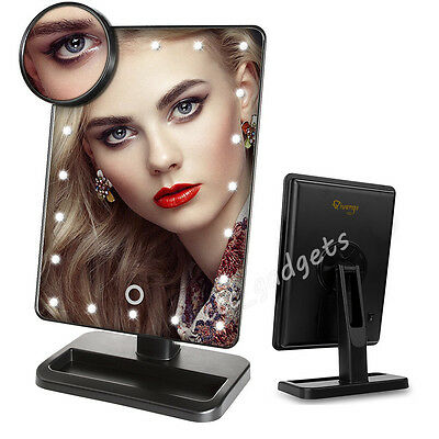 10X Magnifying Touch Screen 20LEDs Light Vanity Make-up Cosmetic Tabletop Mirror