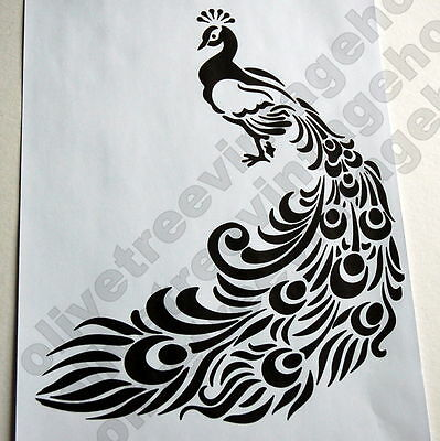 Vintage Peacock A4 Mylar reusable stencil for furniture drawer fabric door