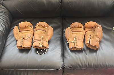 2 Vintage Pairs Of Brown Leather Boxing Gloves Man Cave Display