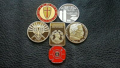 Lot 1 Mixed Joblot Gold & Silver  Plated Bullion Bars & Coins & Masonic Coins