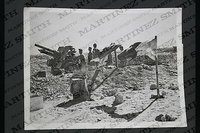 WWII Official Press Photo: Tobruk, Guns in Action, Clouds of Dust When Gun Fired