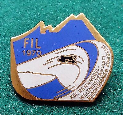 FIL 1970 Berchtesgaden Konigssee World Luge championship pin badge