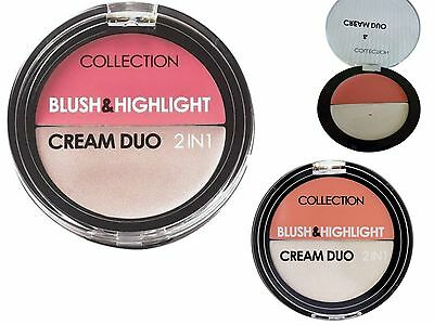 Collection Cream Duo 2 In 1 Blush & Highlight 2 Different Shades UK SELLER