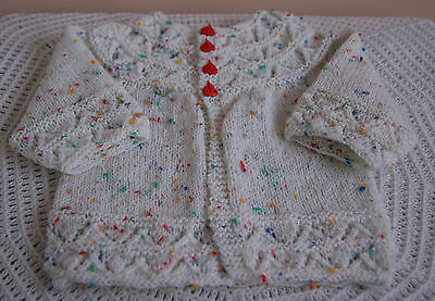 New Hand Knitted Baby Boy's Jacket - Multi - Newborn to 3 months