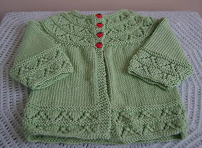New Hand Knitted Baby Girl's Jacket - Green - 3-6 Months
