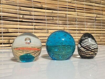 Set Of 3 Glass Paper-Weights
