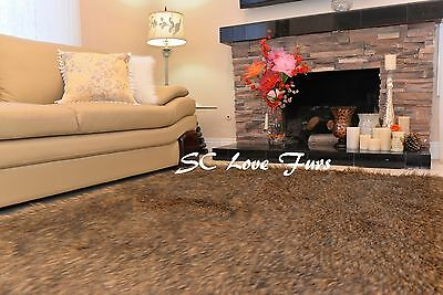 3' x 5'  Thick Furs Coyote Wolf Accents  Faux Fur Rectangle Area Rugs