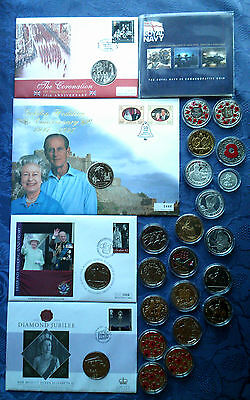 Jersey £5 Pound Crown Commemorative Coins, BU & Proof, Base Metal & Silver