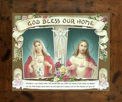 God Bless Our Home Sacred Heart Of Jesus And Mary Picture - Rustic Mdf Frame
