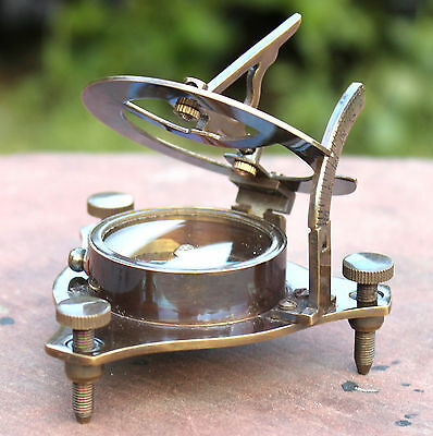 "Antique Maritime Solid Brass Sundial Compass 3"" Marine West London Nautical Item"