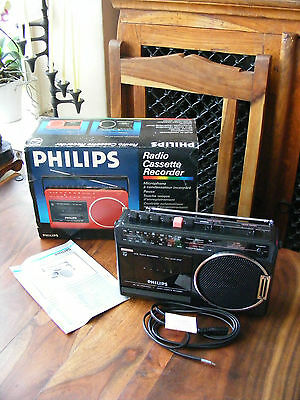 Brand New Vintage 80's Black Philips Portable D7180/05R Radio Cassette Recorder