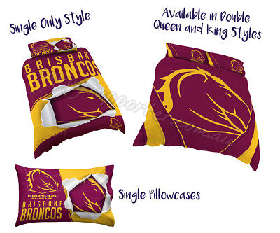 Brisbane Broncos 2018 NRL Quilt Cover Doona Single Double Queen King Pillowcase