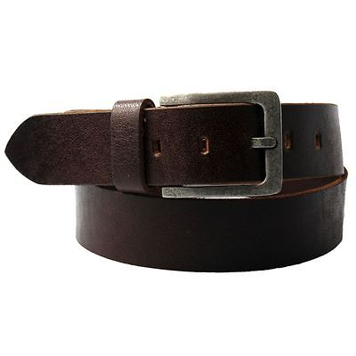 Men's M/L Buffalo Leather Brown Belt with Silver Buckle