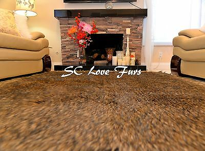 5' x 6' Large Black Tip Coyote Wolf Accents   Faux Fur Rectangle Area Rugs New