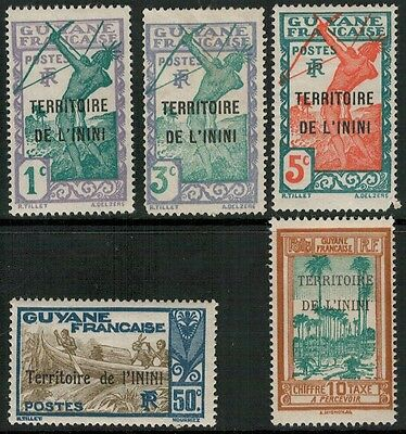 Lot 3805 - Inini - 1931/1932 selection of 5 French Guiana opt mint stamps