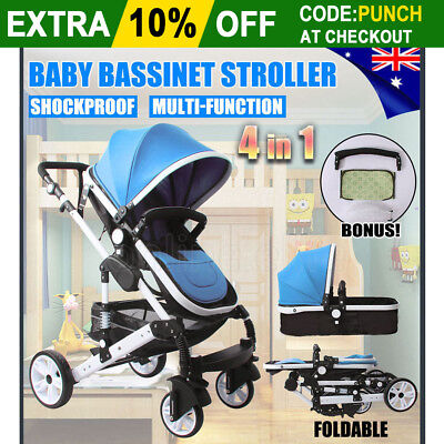 4 in 1 Baby Kids Toddler Pram Stroller Foldable Buggy Jogger With Bassinet Blue