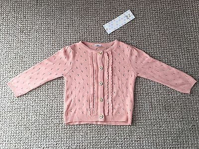 New With Tags Baby Girls Pink And Gold Cardigan Size 3-6 Months