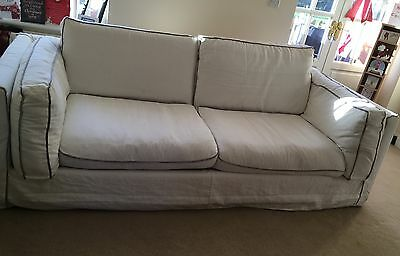 large sofa 3 Seater White With Grey Piping *COLLECTION FROM TILFORD FARNHAM*