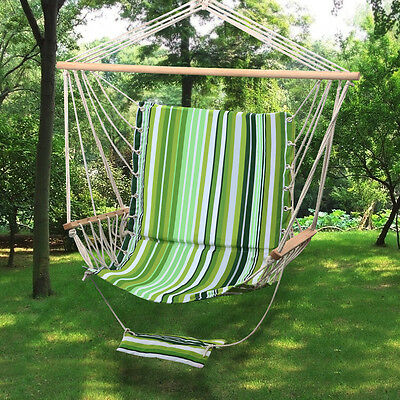 Outdoor Hanging Rope Hammock Chair Swing Seat W/ Armrest & Footrest 265 Lbs New