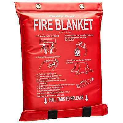 Family First EXTRA LARGE FIRE BLANKET 1.8x1.8m With Soft Pouch *Australian Brand