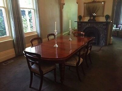 Antique Victorian Mahogany Extension Dining Table and 6 Chairs