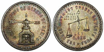 Mexico medallic silver Onza, 1949. Beautiful toning. BU. Exceptional eye-appeal.
