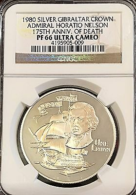 Gibraltar 1980 Horatio Nelson NGC Certified Silver Crown 15,000