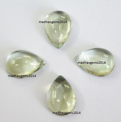 4 Pieces! Natural Green Amethyst 10X14 Mm Pear Shape Loose Gemstone Cabochon