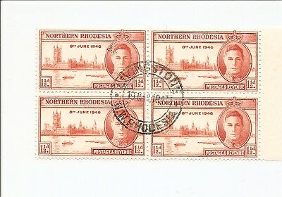 Northern Rhodesia SG 46a Fine Used, Block of 4