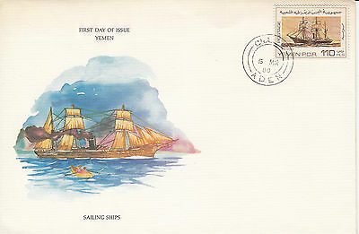 B 823 Yemen PDR Dido ship First Day Cover illustrated