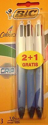 BiC Grip 4 In 1 Colour Ball Point Pens Pack Of 3 Black Blue Red Green Ink